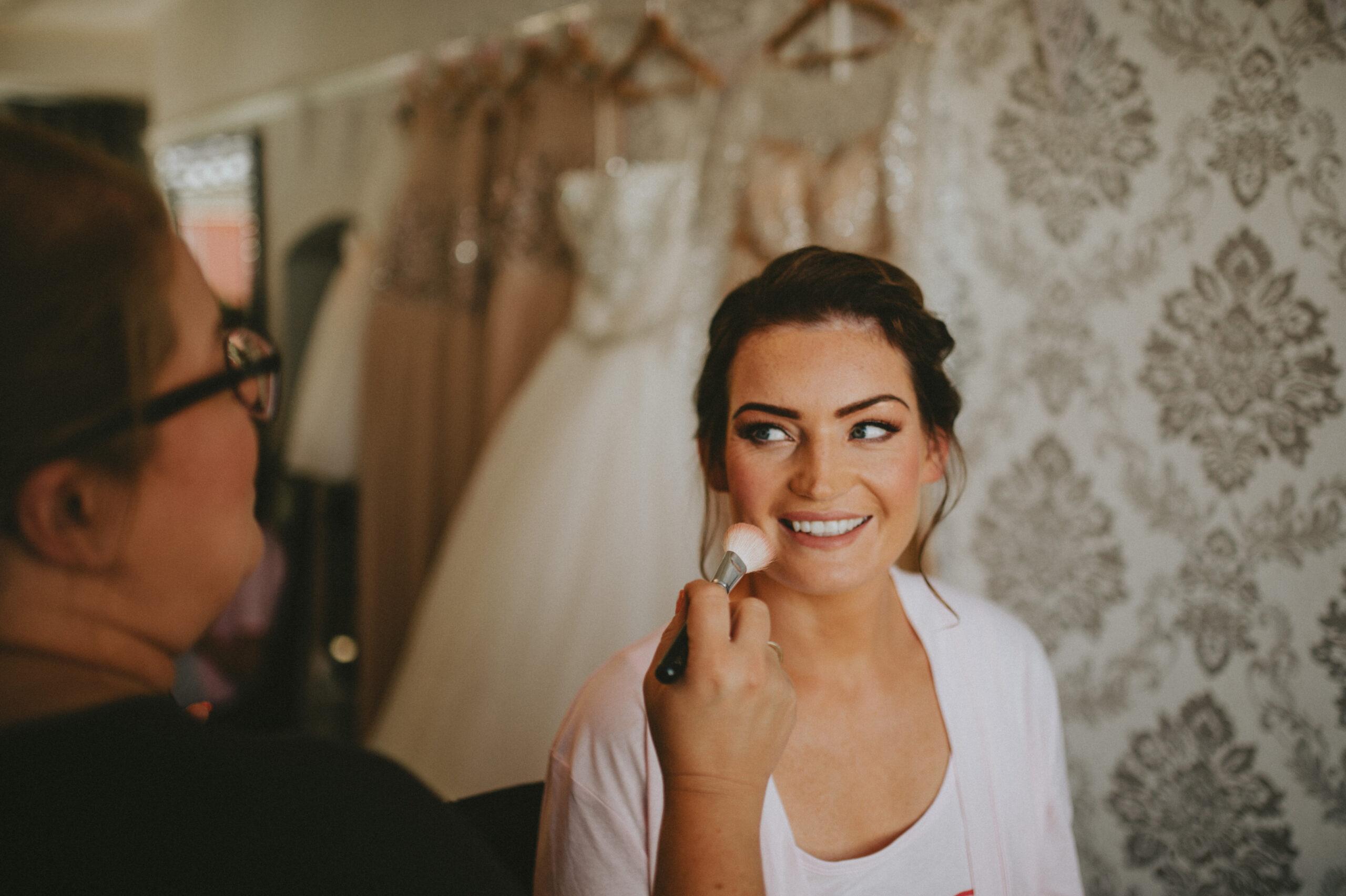 bridesmaid having makeup done by Glamorama Makeup Liverpool