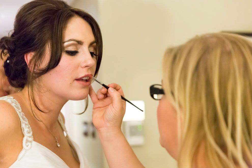 Bride having makeup done at Crowne Plaza Hotel in Liverpool