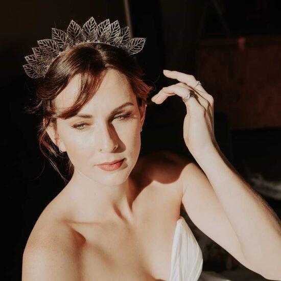 bride wearing a tiara at The Giraffe Shed wedding venue