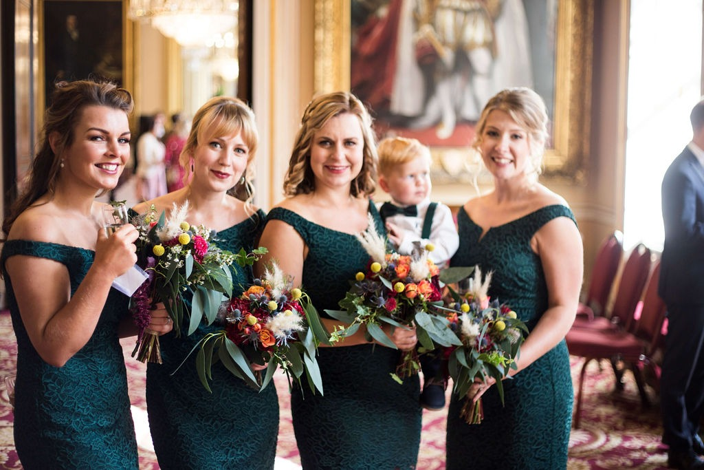 bridesmaids at liverpool town hall wedding