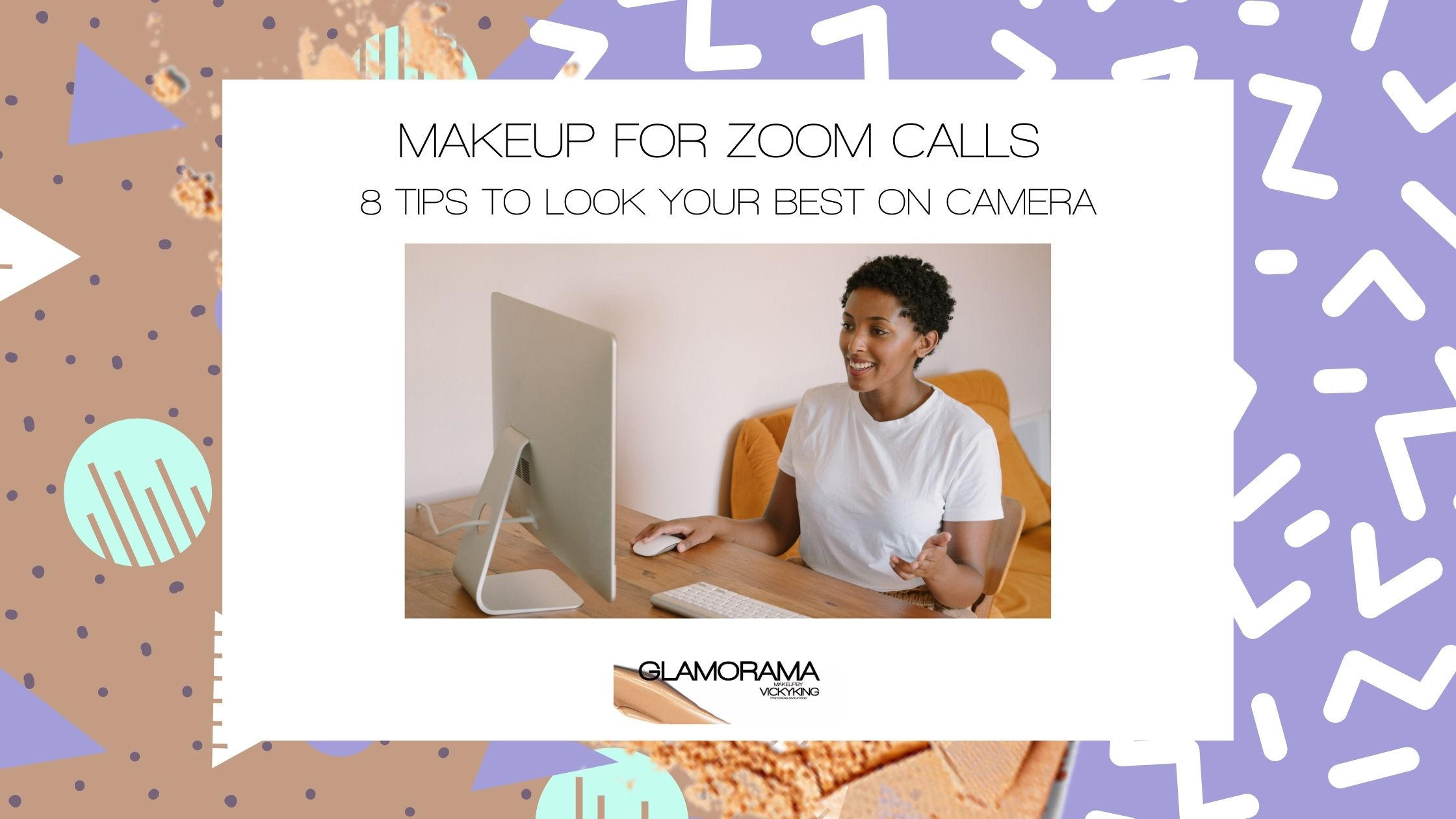 makeup for zoom calls blog post black woman making a zoom call on her desktop computer