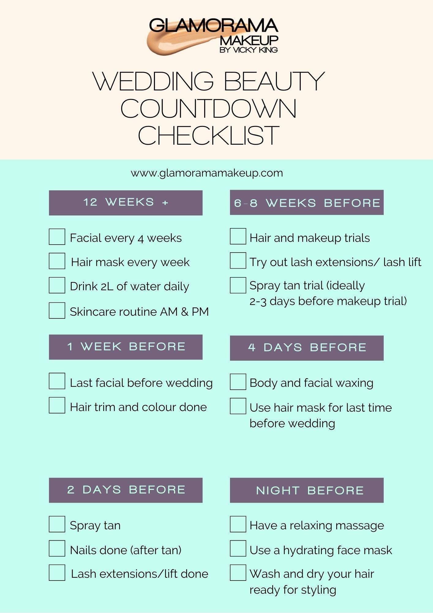 bridal beauty treatments countdown checklist